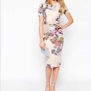 ASOS floral bodycon dress